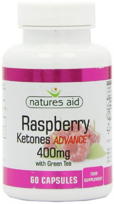 Natures Aid 400mg Raspberry Ketones Advance Plus with Green Tea Pack of 60 Capsules