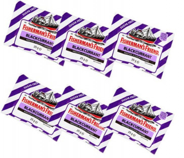Fishermans Friend Blackcurrant Flavour Lozenges with Sweeteners 25g-PACK-OF-6