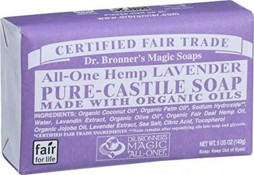 Dr. Bronner - Pure Castile Soap - Fair Trade and Organic - Bar - All One Hemp - Lavender - 5 oz