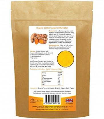 Greens Organic Golden Turmeric Blend 100g - Certified by the Soil Association