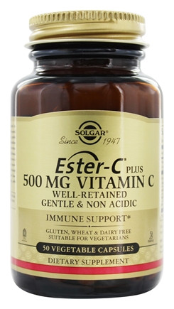Solgar 500 mg Ester-C Plus Vitamin C Vegetable Capsules - Pack of 50