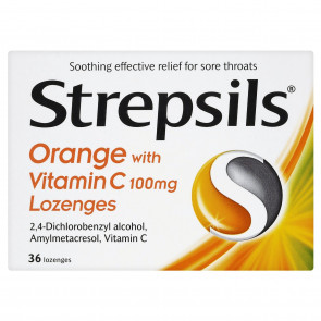 Strepsils Orange with Vitamin C Lozenges, 36 Lozenges