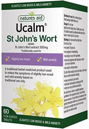 Natures Aid Ucalm  300mg (Equivalent 1500mg-2100mg of St Johns Wort Herb) - Pack of 60 Tablets