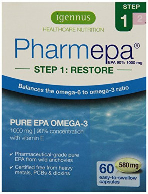 Igennus Pharmepa RESTORE - 1000 mg EPA Omega-3 Pure Fish Oil, 90% Concentration, High Potency & Maximum Absorption, for Heart Health, Mood and Brain Support - 60 Capsules