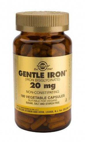 Solgar-Gentle Iron 20mg: 180 Vegetable Capsules