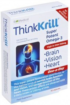 Thinkkrill - Brain, Vision & Heart - Krill Oil, Super Potent Omega-3, High in DHA 250mg. 30 One-A-Day Capsules