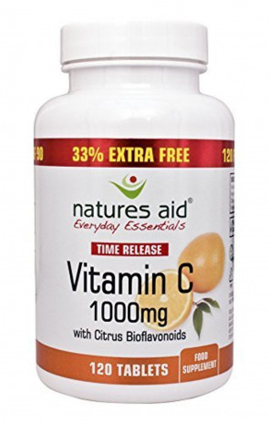 Natures Aid Vitamin C 1000mg Time Release With Citrus Bioflavonoids Time Release 33% Extra Free 120 Capsules