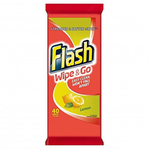 Flash Wipe & Go Lemon Wipes (40)