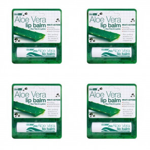 (4 PACK) - Aloe Vera Aloe Vera Lip Balm | 4g | 4 PACK - SUPER SAVER - SAVE MONEY