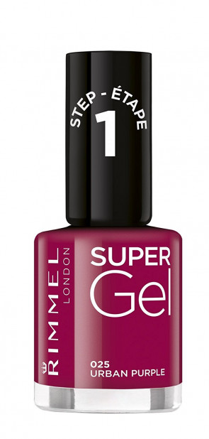 Rimmel London Shade 25 Urban Purple Super Gel Nail Polish, Dark Pink 12 ml